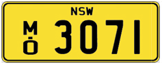 Example of bus number: NSW MO 3071